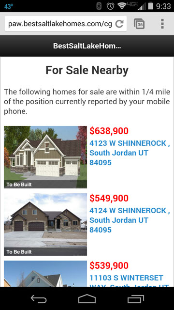 Show Salt Lake Home Listings Near Your Current Location